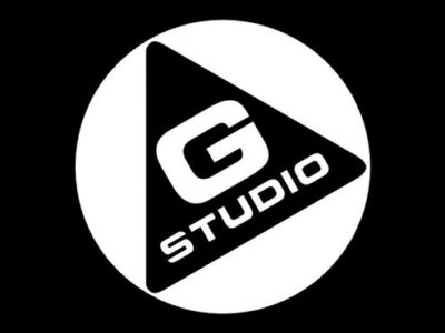 Black and white logo of G Studio