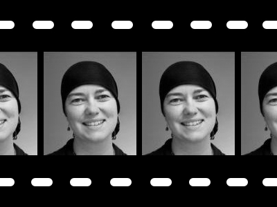 Film strip style photo of artist Shirley Booth
